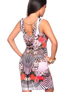 Zugeschnürt Shop - Elegantes Minikleid mit Ornament rosa – Bild $_i