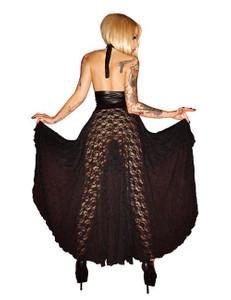 Noir Handmade - Erotisches Spitzen-Kleid mit Wetlook-Partien in schwarz – Bild $_i
