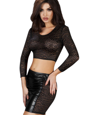 Chilirose Sexy Set Top & Rock mit Wetlook transparentem Leoparden-Look schwarz