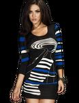 Chilirose - Minikleid Longpulli in schwarz blau weiß 001