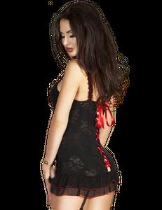 Chilirose - Aufregendes Negligé mit Rückenschnürung und String in schwarz/rot – Bild $_i
