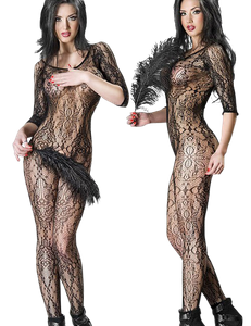Chilirose - Ouvert Bodystocking mit Ornamenten in schwarz