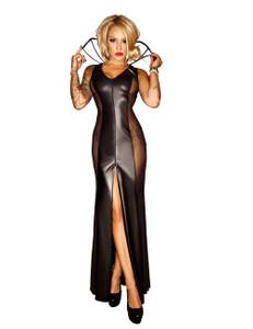 Noir Handmade - Wetlook Kleid lang mit Transparenz – Bild $_i