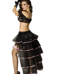 Chilirose - Vintage Burlesque Rock in schwarz mit rosa Satin 001