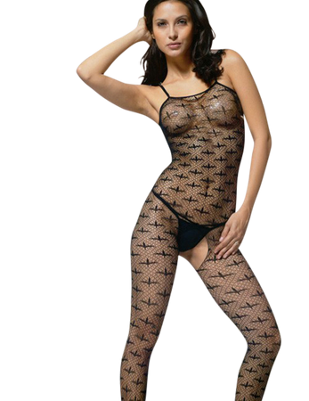 Beauty's Love - Ouvert Bodystocking mit Manta-Rochen-Motiven in schwarz – Bild $_i