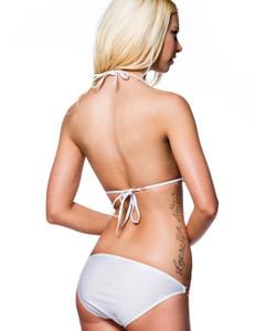 Zugeschnürt Shop - Push-Up Bikini mit goldenen Ketten weiß – Bild $_i