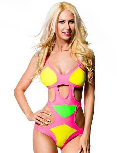 Zugeschnürt Shop - Monokini in knalliger Farbkombination – Bild $_i