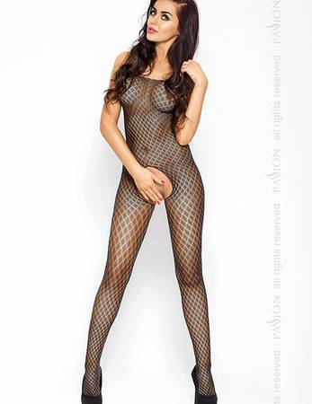 Passion - Bodystocking Ouvert mit Karomuster in schwarz