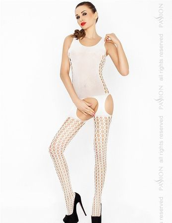 Passion - Weißer Bodystocking mit Cut Outs