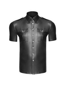Noir Handmade - Wetlook Hemd mir kurzen Ärmeln – Bild $_i