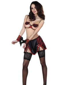 LivCo Corsetti - Sexy Set Zevida mit Fesseln in schwarz rot – Bild $_i