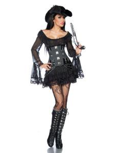 Zugeschnürt Shop – Piratenkleid mit Carmen-Ausschnitt & passender String – schwarz – Bild $_i