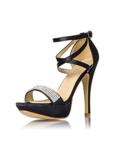 Zugeschnürt Shop - Schwarze Plateau Schuhe Bright Diva – Bild $_i