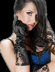 Chilirose - CR 3252 Schwarz Satin Gloves with Lace – Bild $_i
