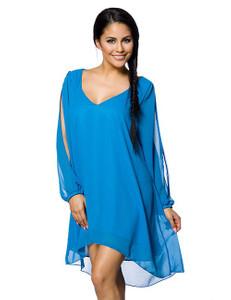 Zugeschnürt Shop - Azurblaues Tunika-Kleid – Bild $_i