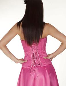 Zugeschnürt Shop - Vollbrust-Korsett Satin rosa mit Schleife – Bild $_i