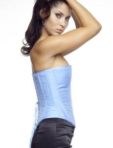 Zugeschnürt Shop - Brust-Korsett Jacquard-Muster hellblau – Bild $_i