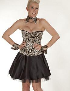 Zugeschnürt Shop - Brust-Korsett Satin leopard – Bild $_i