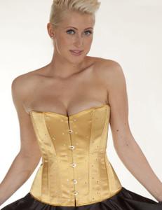 Zugeschnürt Shop - Brust-Korsett Satin mit Swarowski-Elements gold – Bild $_i