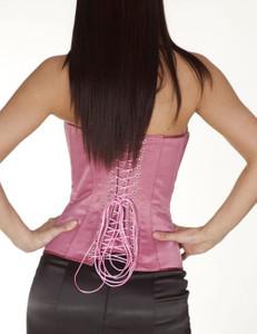 Zugeschnürt Shop - Brust-Korsett Satin rosa – Bild $_i
