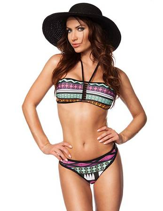 Zugeschnürt Shop - Bandeau-Bikini bunt – Bild $_i