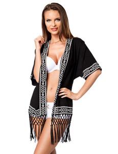 Zugeschnürt Shop - Schwarzer Kimono mit Fransenbordüre – Bild $_i