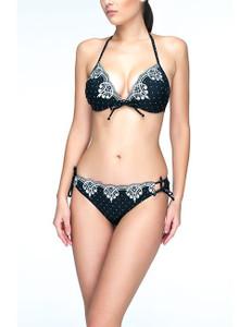 Anabel Arto - Push-Up Bikini mit Kontrast-Stickerei schwarz – Bild $_i