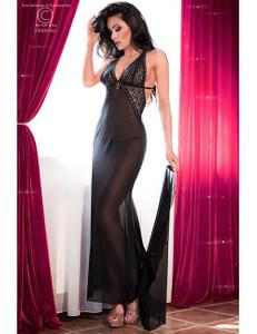 Chilirose - eindrucksvolles langes Kleid mit einem Zug CR-4064 schwarz – Bild $_i