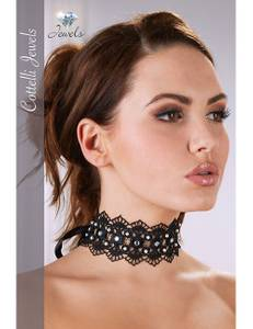 Cottelli Collection - Stickereihalsband mit Strass schwarz