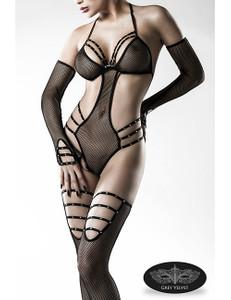 Grey Velvet - Body-Set aus Netz mit Strass-Akzenten – Bild $_i