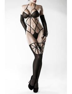 Grey Velvet - Body-Set mit Stockings und Handschuhen – Bild $_i