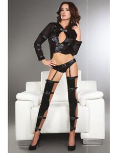 LivCo Corsetti - Erna Top, Strapsgürtel und Stockings LC 90062 schwarz – Bild $_i