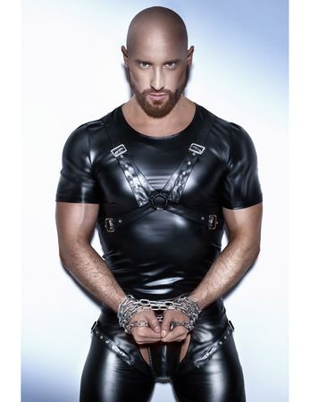 Noir Handmade - Powerwetlook-Shirt mit verstellbarem Harness aus Eco-Leather – Bild 5