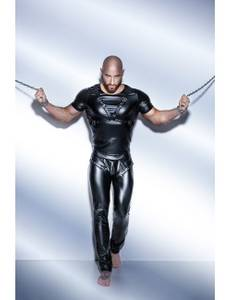 Noir Handmade - Powerwetlook-Shirt mit verstellbarem Harness aus Eco-Leather – Bild $_i