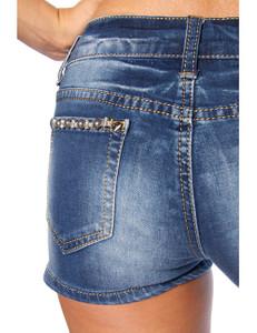 Zugeschnürt Shop - Jeans-Shorts mit Paillettenapplikation – Bild $_i