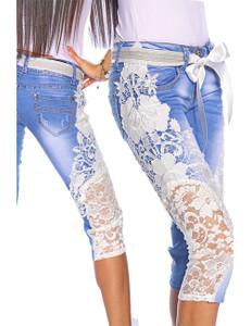 Zugeschnürt Shop - Capri-Jeans mit Spitze – Bild $_i