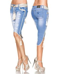 Zugeschnürt Shop - Capri-Jeans mit Kordeln – Bild $_i