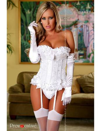 Provocative Dessous - Brokat Corsage Magic Moments Ivory PR101070M weiß – Bild 1