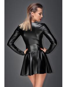 Noir Handmade - Minikleid aus elastischem Powerwetlook schwarz – Bild $_i
