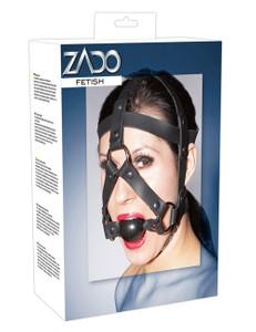 ZADO - Leder-Kopfgeschirr mit Knebelball - schwarz