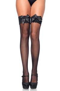 Leg Avenue Lace Top Fishnet Thigh Highs black Gr.S-L
