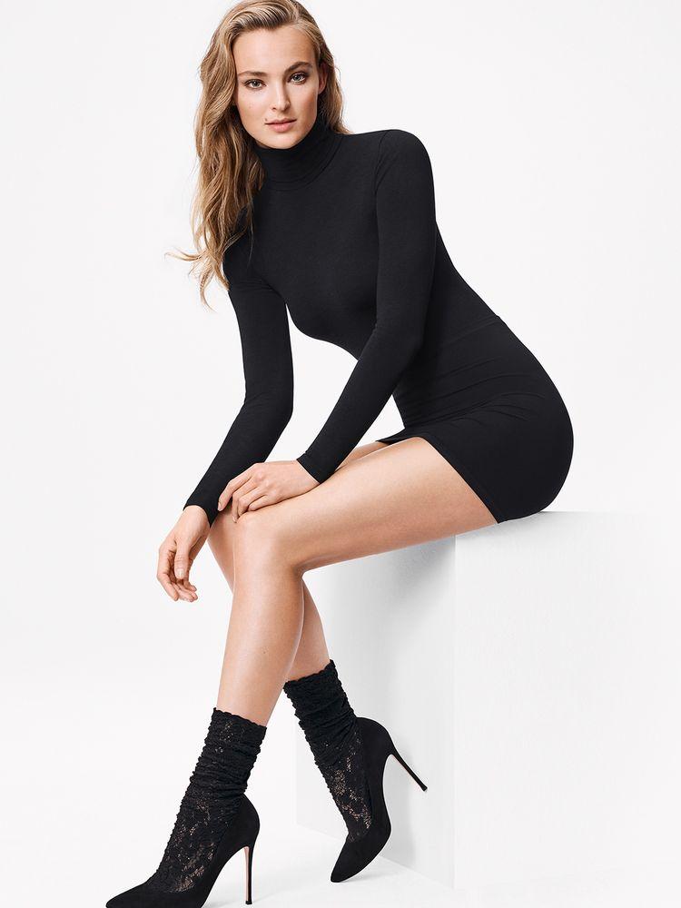 Wolford Camelia Socks Spitzen-Damensocken schwarz – Bild 1