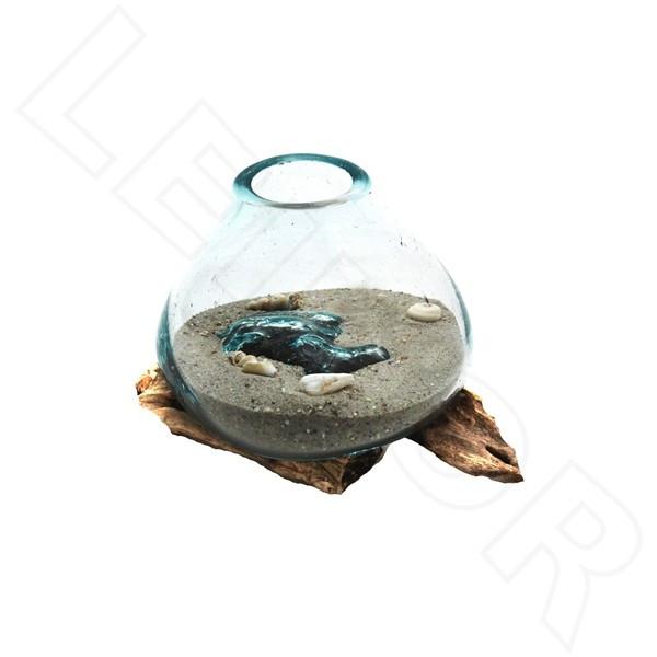 Wurzel mit Glas Größe 0,5, ca. 15cm