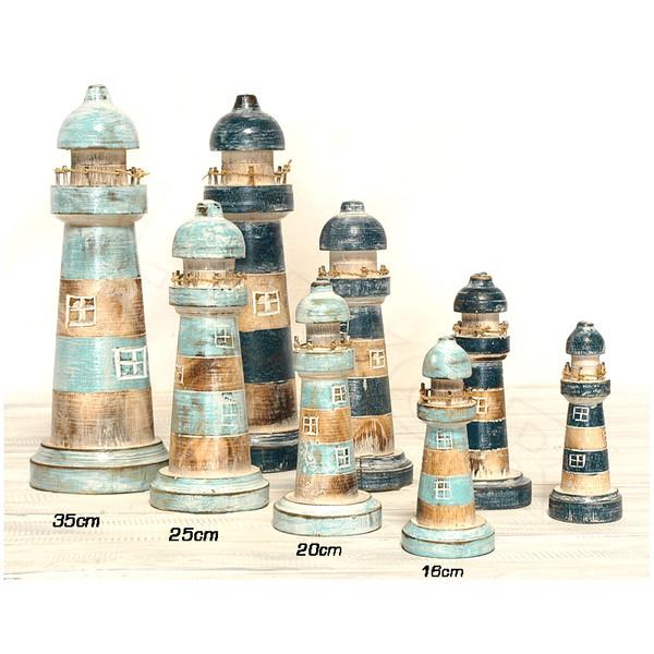 Leuchtturm sortiert türkis/blau 35 cm