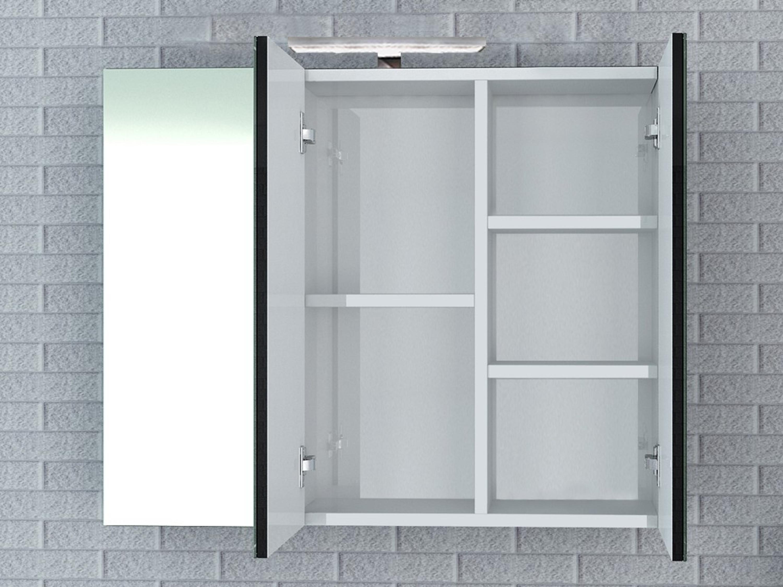 Spiegelschrank milano 90 cm schwarz hochglanz bad badm bel sets - Spiegelschrank 90 cm ...