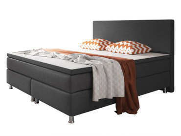Boxspringbett Berlin 180x200 cm Webstoff Anthrazit Boxspring Optik – Bild 1