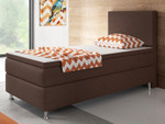 Boxspringbett Berlin 90x200 cm Webstoff Braun Boxspring Optik 001