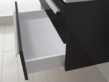 2 tlg. Badmöbel Set Palma 120 cm Schwarz Hochglanz – Bild 6