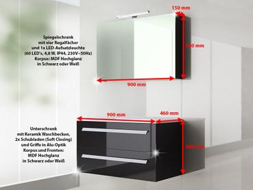 2 tlg. Badmöbel Set Palma 90 cm Schwarz Hochglanz – Bild 8