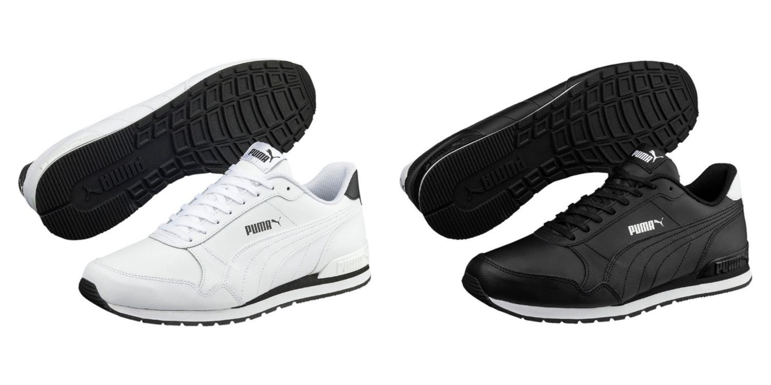Details about Puma St Runner v2 Full L Trainers Shoes Leather 365277 White  and Black